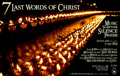 7 Last Words of Christ poster featuring rows of burning candles on black background