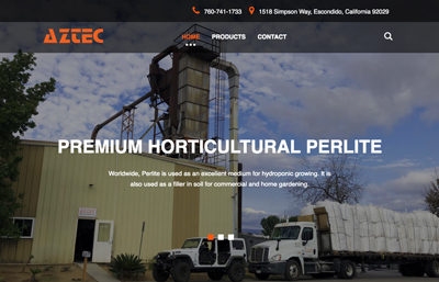 Aztec Perlite website featuring the exterior of the Company with an Aztec Perlite semi trailer loaded with bags of perlite
