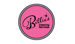 Billie's Cleaning Services hot pink and black logo in a monogram circle