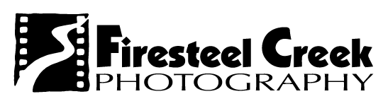 Firesteel Creek black and white logo featuring film strip with creek on left side