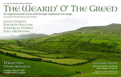 The Wearin' O' The Green poster featuring rows green rolling hills of Ireland