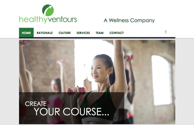 Healthy Ventours website featuring a fitness class with a girl in front wearing a green tank and using pink weights