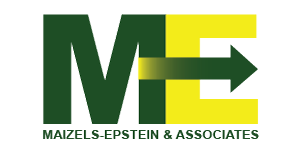 Maizels-Epstein logo with dark green M and bright yellow E with an arrow going through