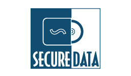 Secure Data blue and white logo featuring a padlock design